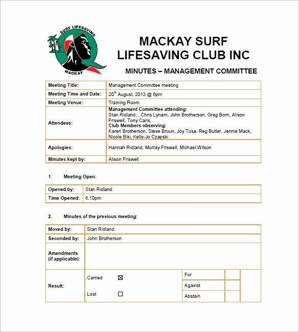 Club Meeting Minutes Template Fresh 13 Club Meeting Minutes Templates Doc Excel Pdf