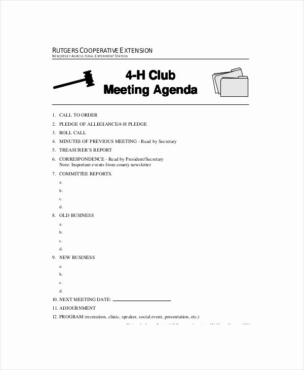 Club Meeting Minutes Template New Club Meeting Agenda Template 7 Free Word Pdf Documents