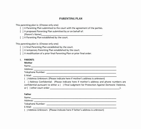 Co Parenting Agreement Template Awesome D Parenting Plan Template Child Visitation Agreement