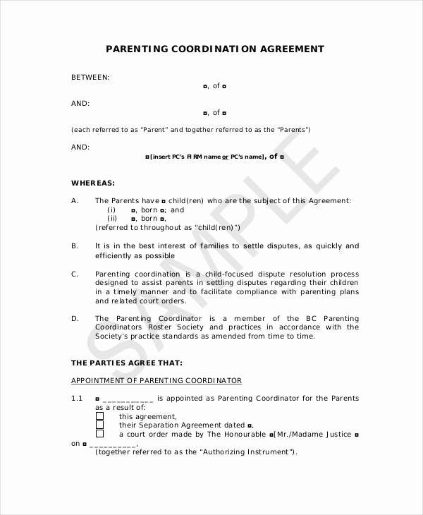 Co Parenting Agreement Template Fresh Parenting Agreement Templates 8 Free Pdf Documents