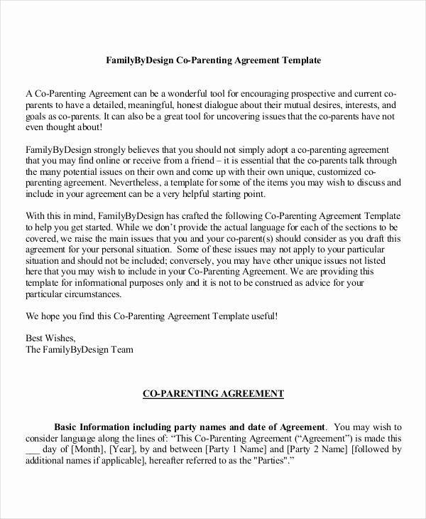 Co Parenting Agreement Template Lovely Parenting Agreement Templates 8 Free Pdf Documents