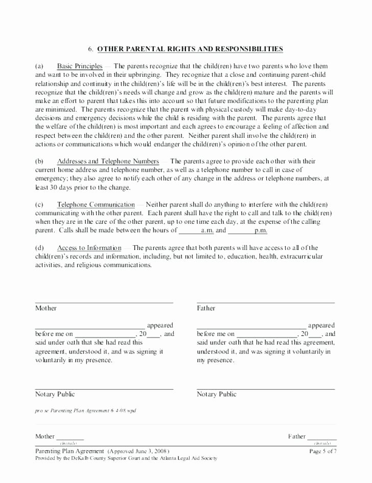 Co Parenting Agreement Template New Parenting Plan Worksheet – Kennedy King