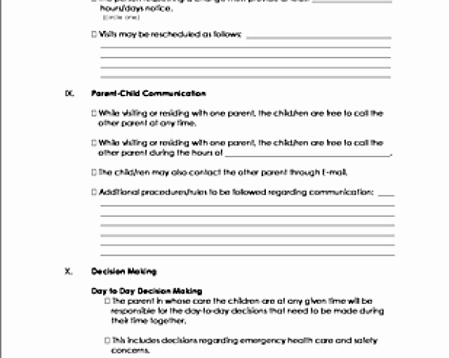 Co Parenting Agreement Template Unique Download Co Parenting Agreement Template – Free Template