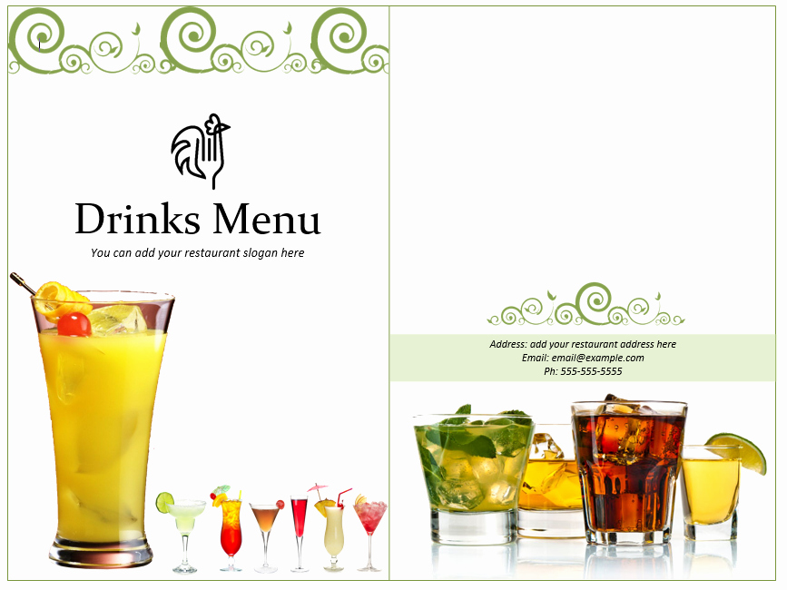 Cocktail Menu Template Free Beautiful 3 Free Lunch Menu Templates Small Business Resource Portal