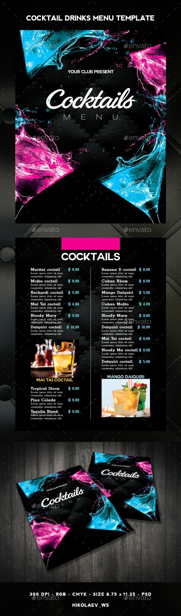Cocktail Menu Template Free Elegant 1000 Ideas About Menu Templates On Pinterest