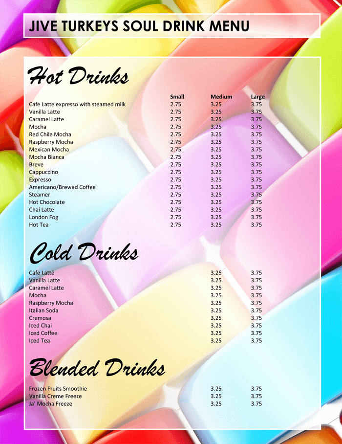 drink menu template for bar business