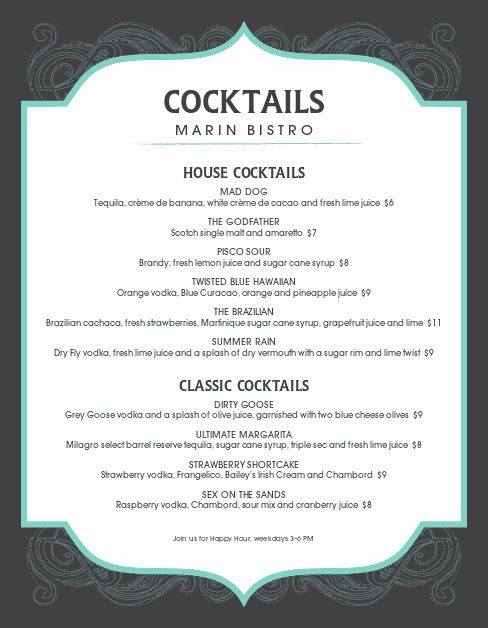 Cocktail Menu Template Free Elegant Frozen Cocktail Menu