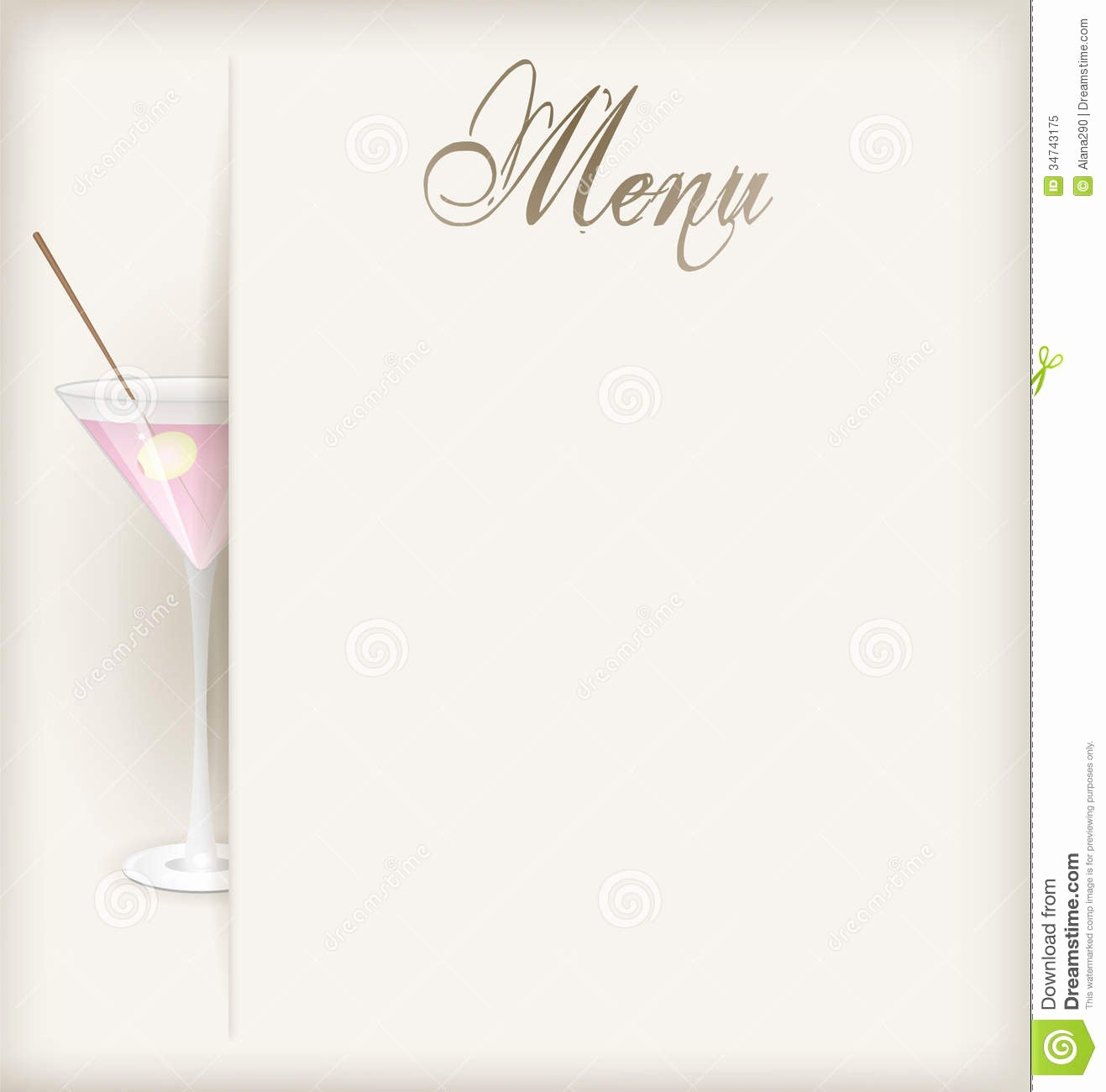 Cocktail Menu Template Free Elegant Menu with Martini Stock Vector Illustration Of ornament