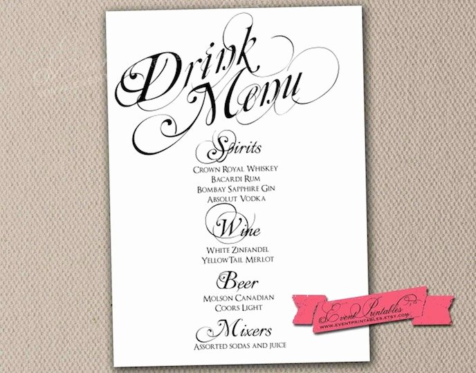 Cocktail Menu Template Free Elegant Printable Drink Menu Card Diy Wedding Reception by