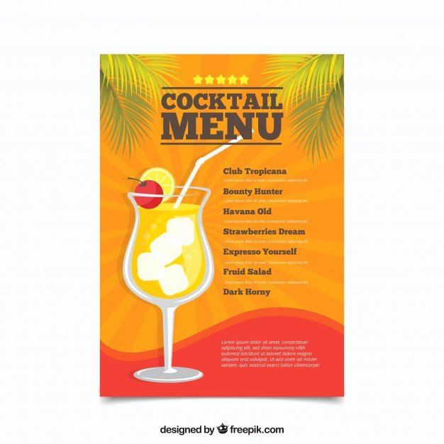 Cocktail Menu Template Free Fresh Cocktail Menu Template In Flat Design Vector