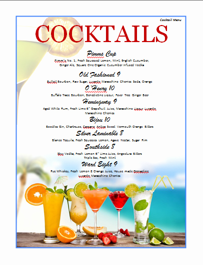 Cocktail Menu Template Free Fresh Cocktail Menu Template Microsoft Word Templates
