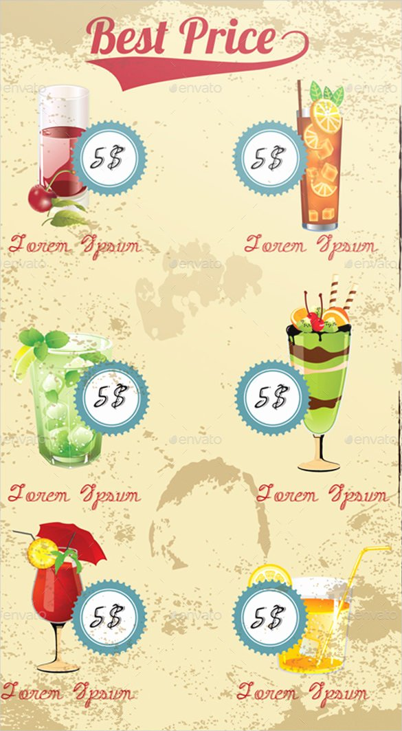 Cocktail Menu Template Free Inspirational 29 Cocktail Menu Templates – Free Sample Example format