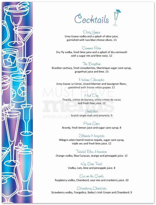 Cocktail Menu Template Free Inspirational Cocktail Menu Template