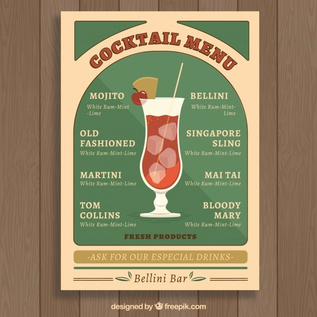 Cocktail Menu Template Free Inspirational Vintage Cocktail Menu Template Vector