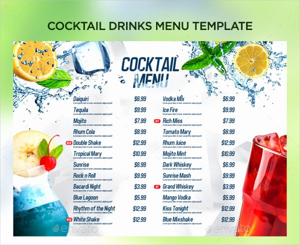 Cocktail Menu Template Free Lovely 21 Cocktail Menu Templates Free & Premium Download