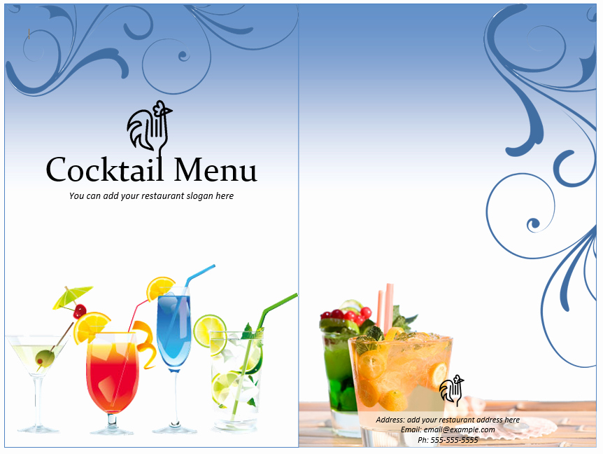 Cocktail Menu Template Free Unique Cocktail Menu Template Word Templates