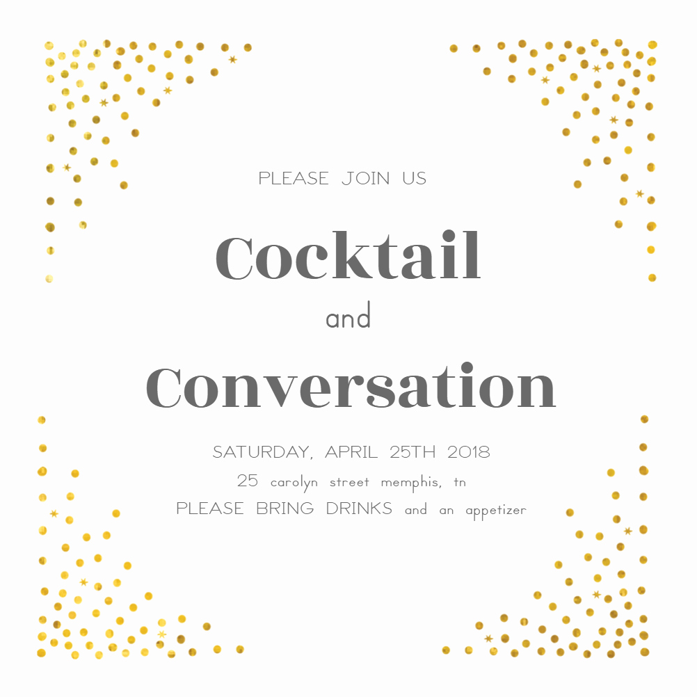 Cocktail Party Invitation Template Best Of Free Invitation Template Cocktail Dots