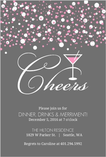 Cocktail Party Invitation Template Fresh Pink Bubbles Martini Cocktail Party Invitation