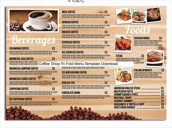 Coffee Shop Menu Template Beautiful 22 Tri Fold Menu Templates – Free Sample Example format