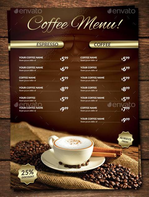 Coffee Shop Menu Template Fresh 15 Coffee Shop Menu Designs & Templates Psd Indesign