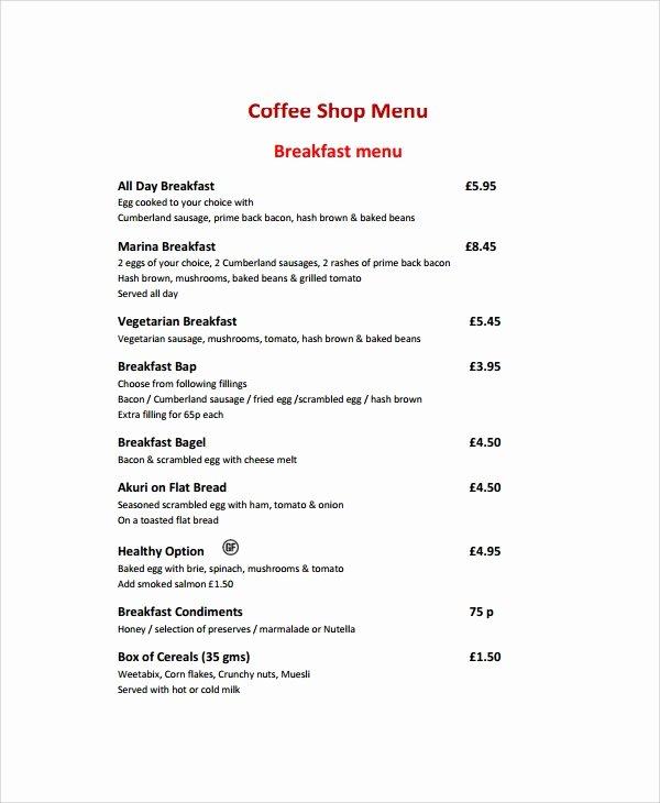 Coffee Shop Menu Template Fresh 8 Sample Coffee Menu Templates