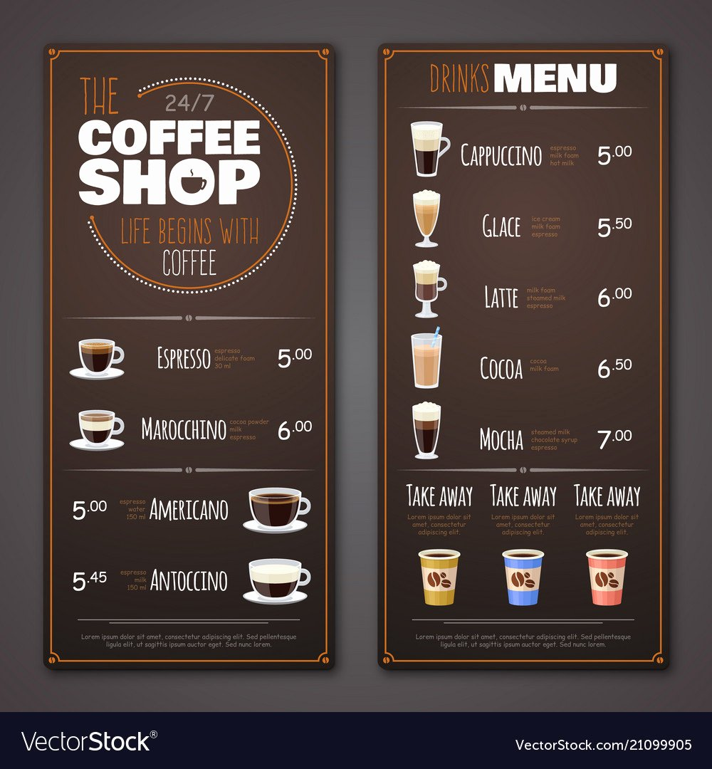 Coffee Shop Menu Template Fresh Coffee Menu Coffee Drinker