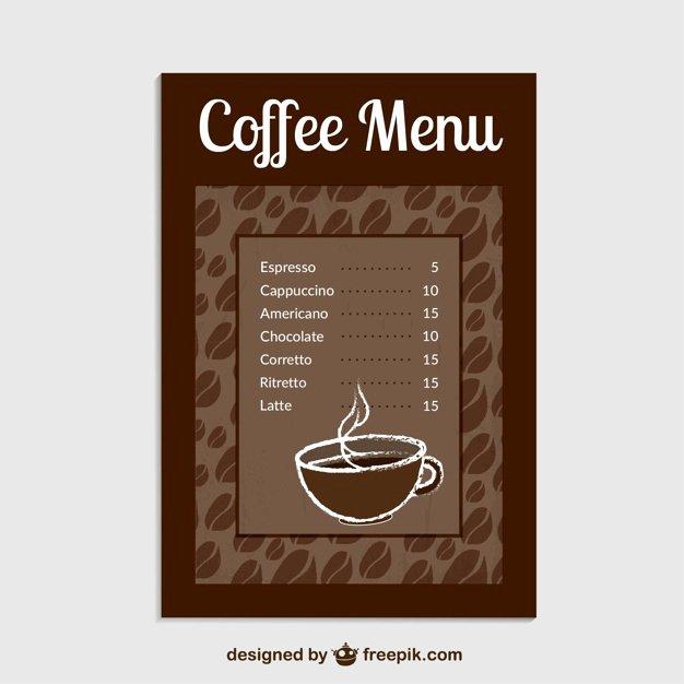 Coffee Shop Menu Template Fresh Coffee Menu Template Vector