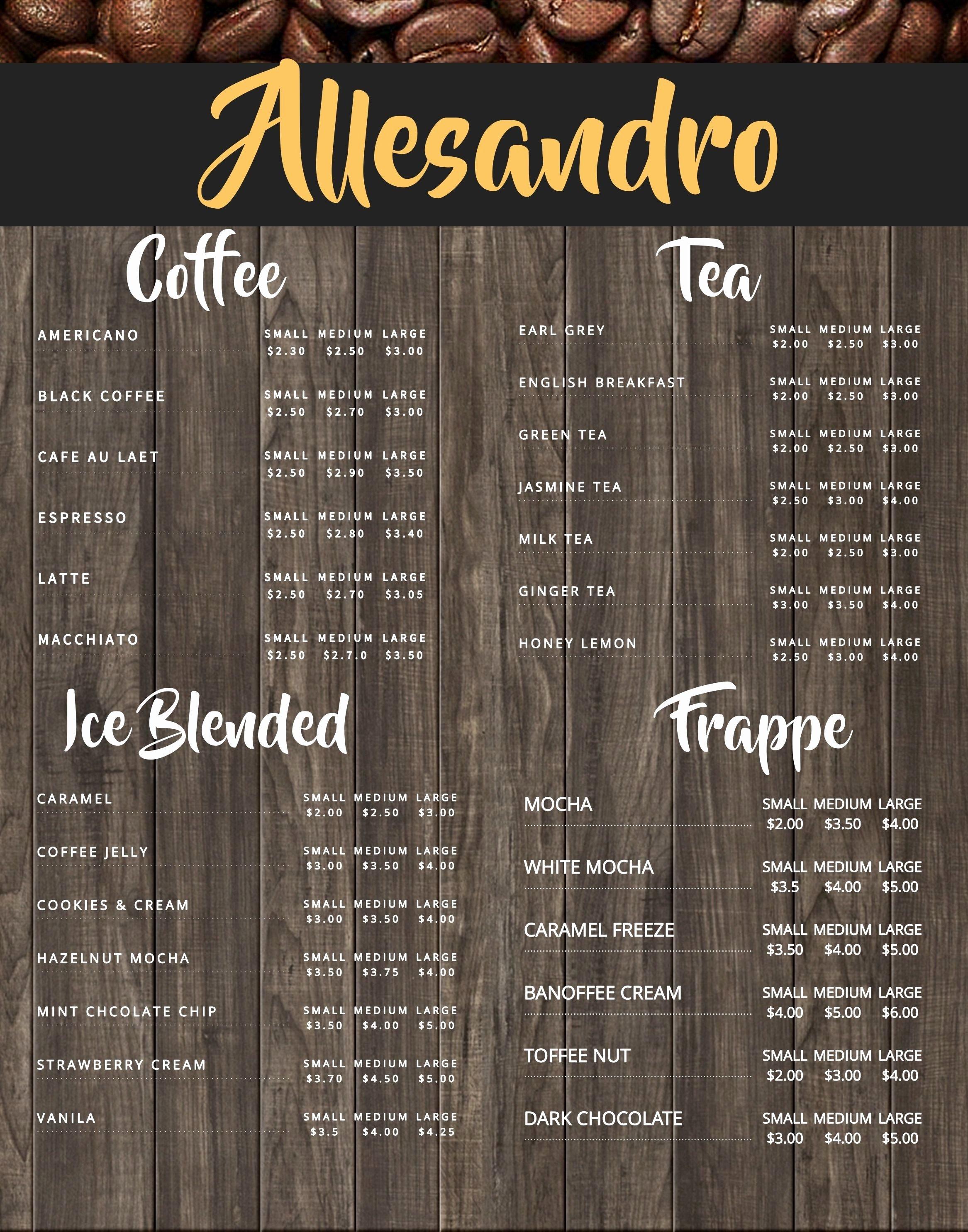 Coffee Shop Menu Template Fresh Coffee Shop Menu Board Design Template to Customize