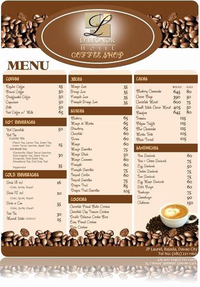 Coffee Shop Menu Template Fresh Coffee Shop Menu Graphic Design
