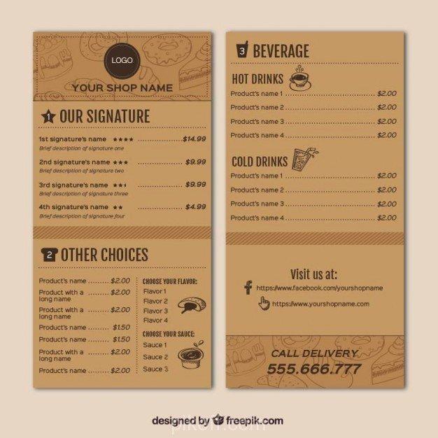 Coffee Shop Menu Template Inspirational [ai] Coffee Shop Menu Template Vector Free Pikoff
