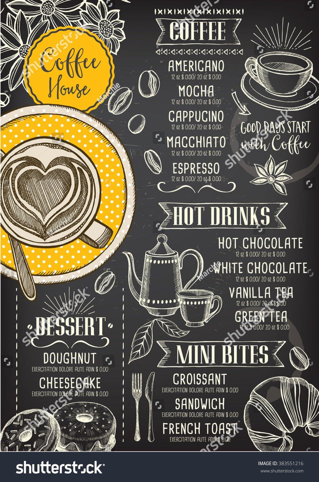 Coffee Shop Menu Template Inspirational Coffee Restaurant Brochure Vector Coffee Shop Menu Design