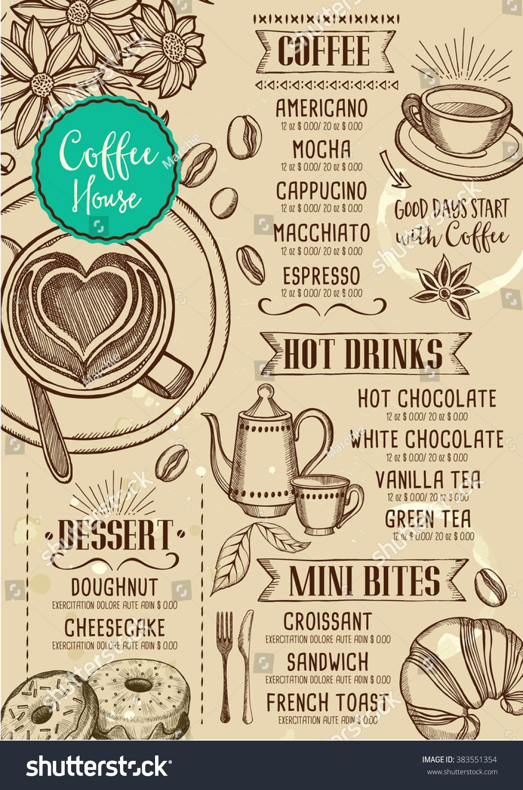 Coffee Shop Menu Template Lovely Coffee Restaurant Brochure Vector Coffee Shop Stock Vector