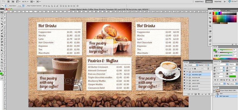coffee shop menu board psd template