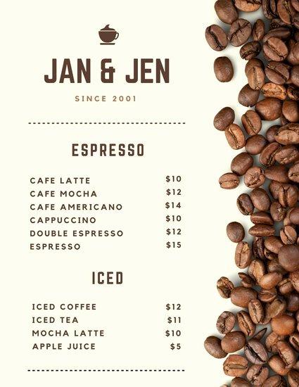 Coffee Shop Menu Template Lovely Dark Brown Cups Coffee Shop Menu Templates by Canva