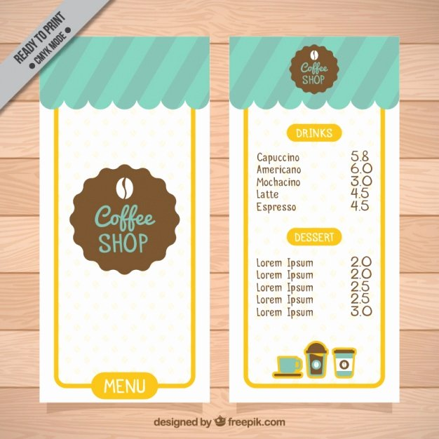 Coffee Shop Menu Template Luxury Coffee Shop Menu Template Vector