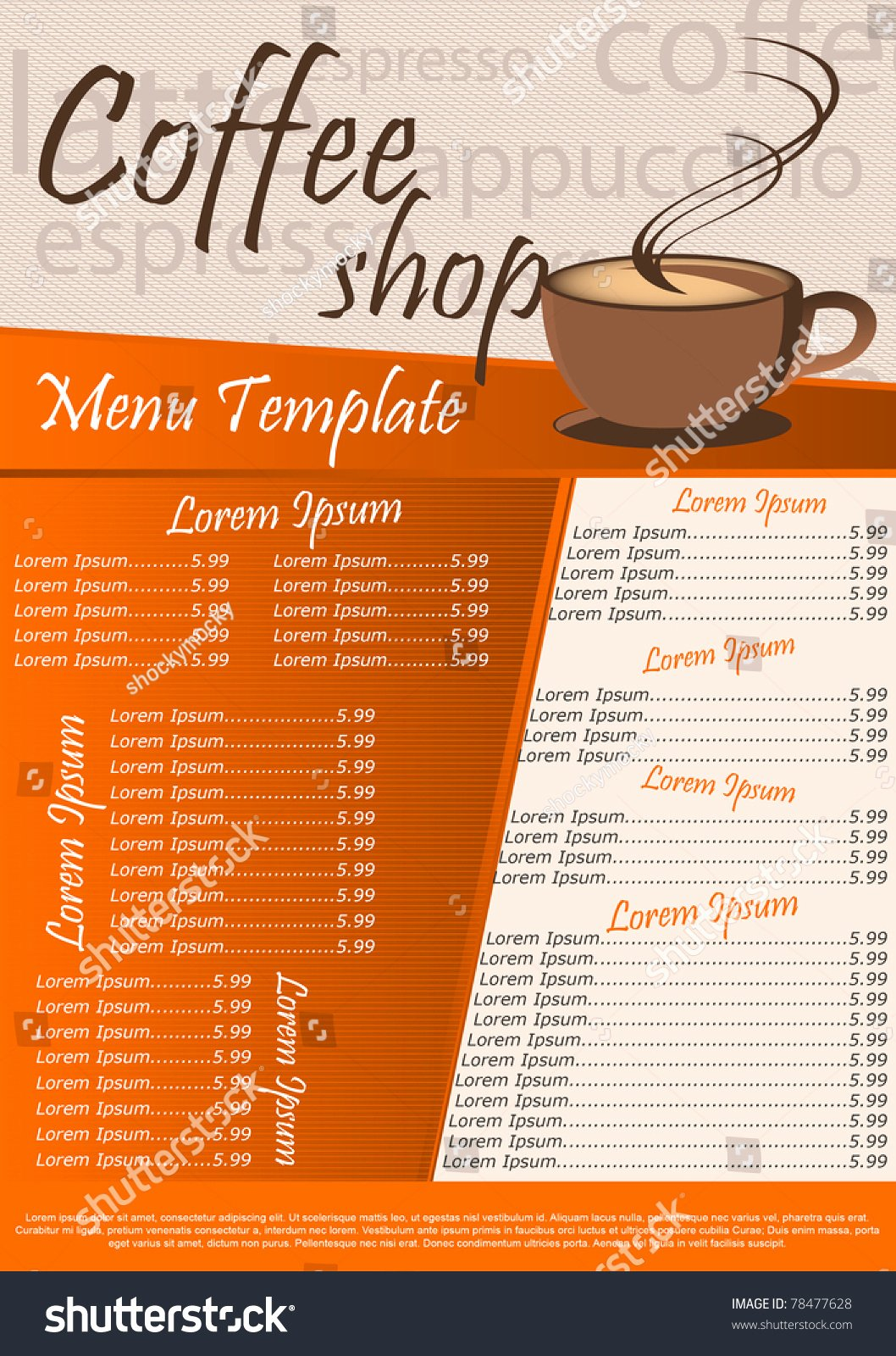 Coffee Shop Menu Template New Coffee Shop Menu Template Vector Illustration Stock Vector