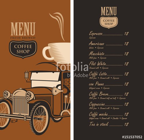 "Coffee Shop Menu Template Unique ""template Vector Menu for A Coffee Shop with Old Car Cup"
