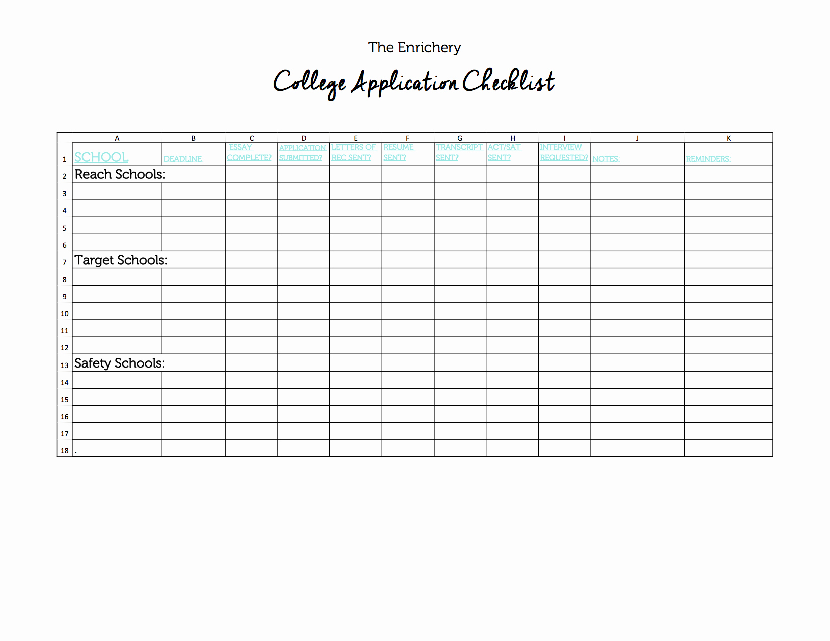 College Application Checklist Template Elegant Blank College Application Checklist the Enrichery