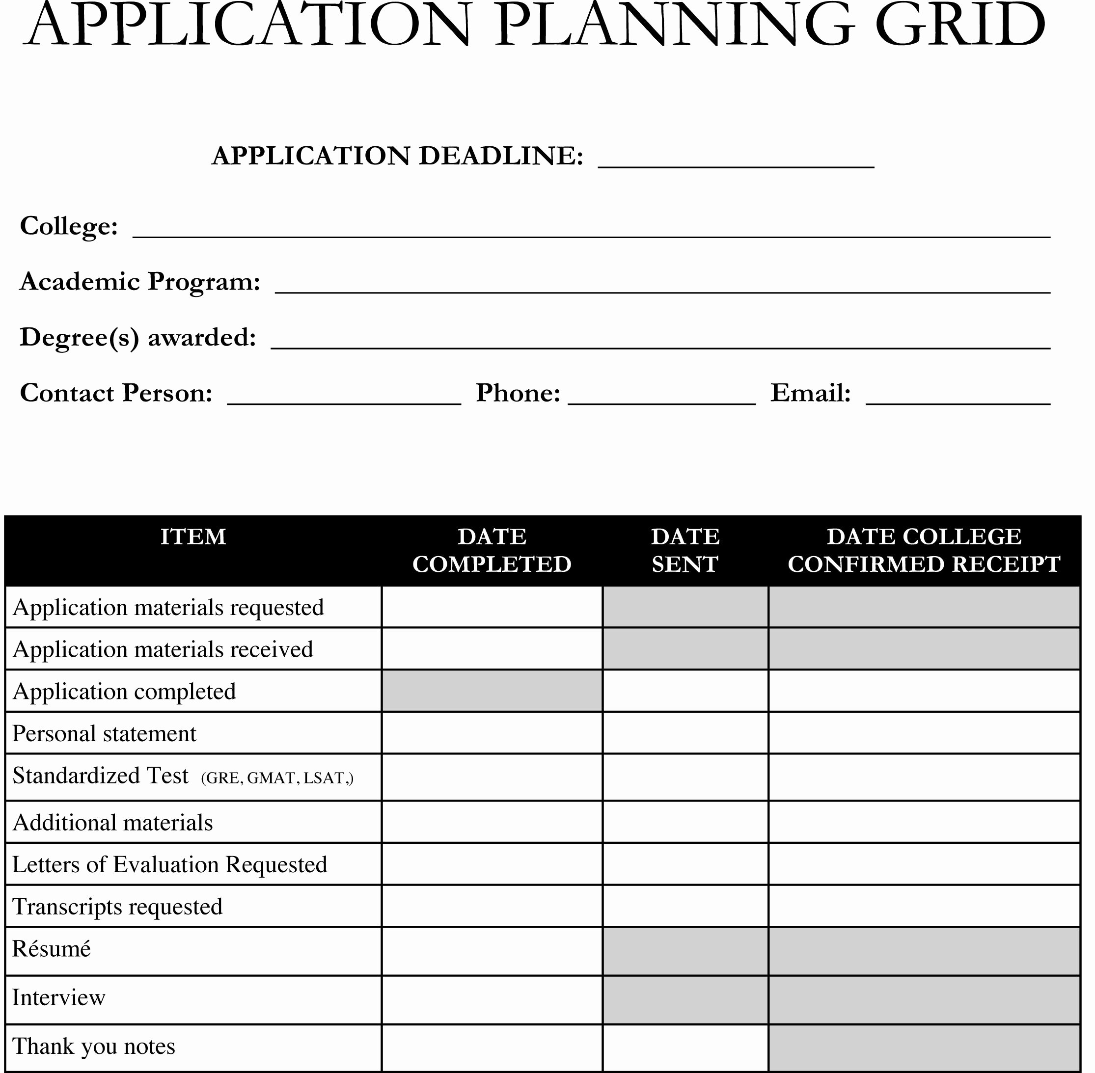 College Application Checklist Template Elegant Planning On Applying to Graduate School Use This