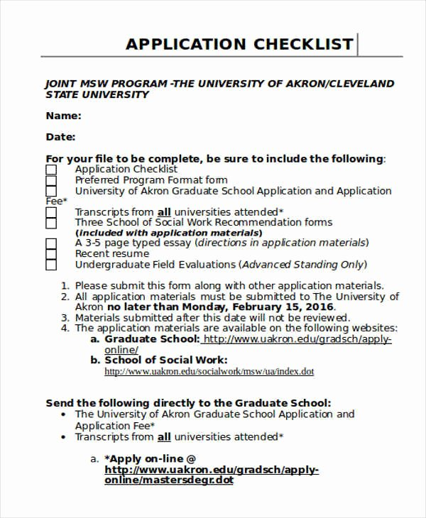College Application Checklist Template Fresh Application Checklist Templates 8 Free Word Pdf format