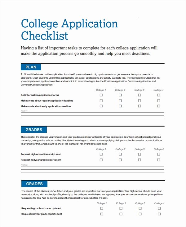 College Application Checklist Template New 50 Checklist Templates