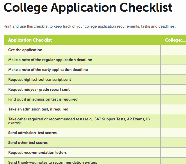 College Application Checklist Template New How to Deal with College Application Deadlines Part Three