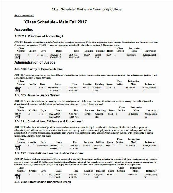 College Class Schedule Template Beautiful Class Schedule Template – 8 Free Sample Example format