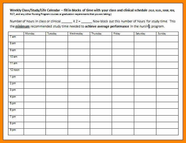 College Class Schedule Template Fresh College Class Schedule