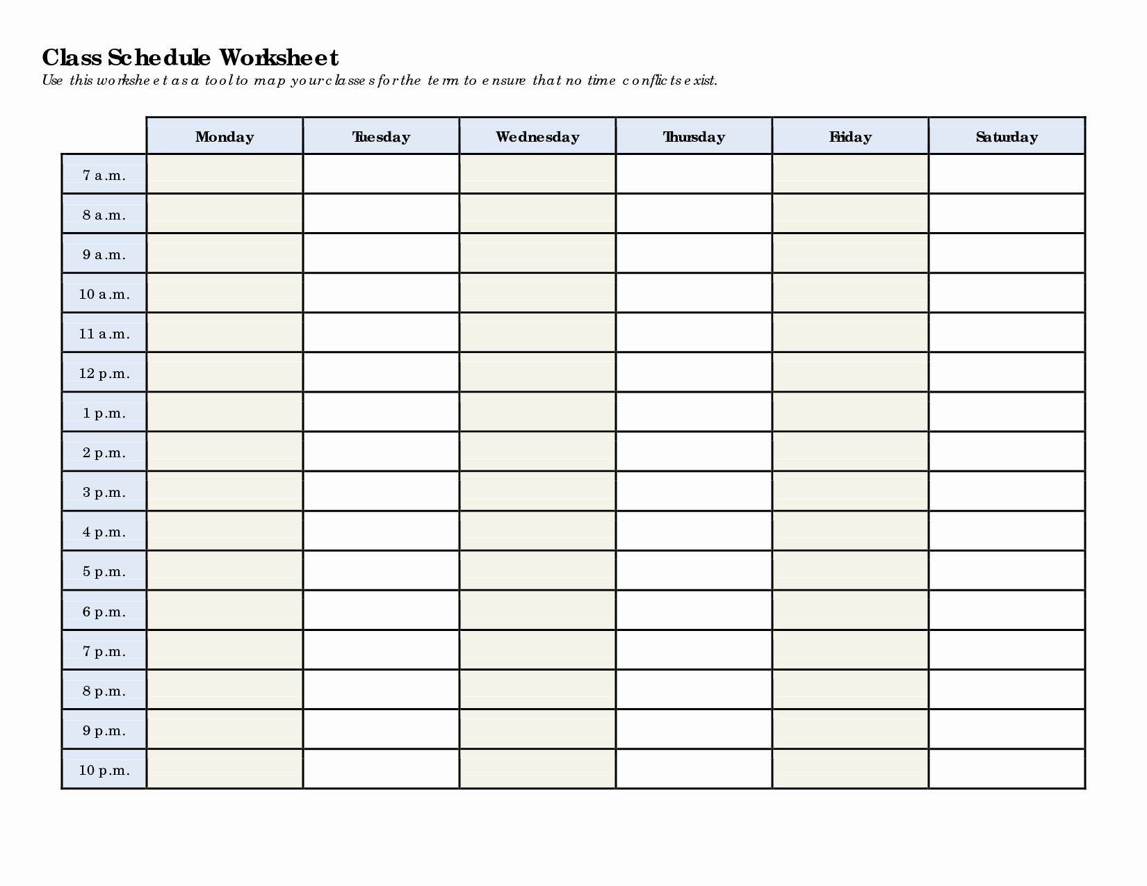 College Class Schedule Template Fresh School Schedule Template
