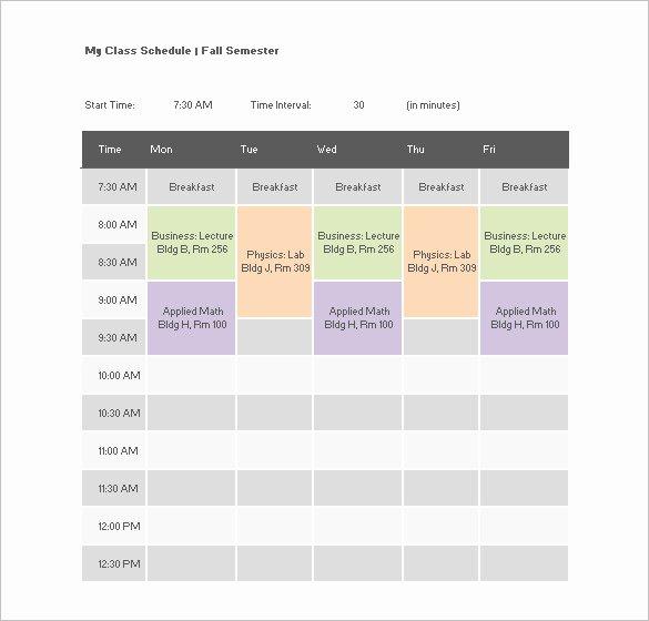 College Class Schedule Template Inspirational College Class Schedule Template – 7 Free Word Excel Pdf