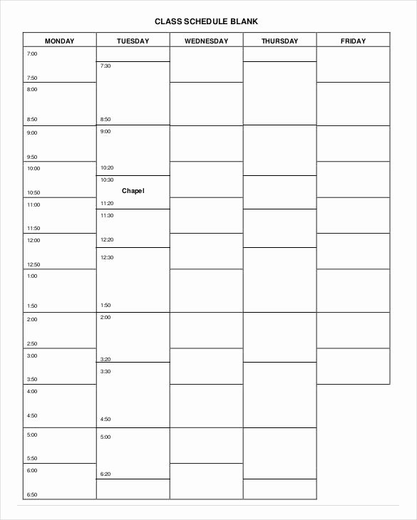 College Class Schedule Template New College Schedule Template 6 Free Sample Example format