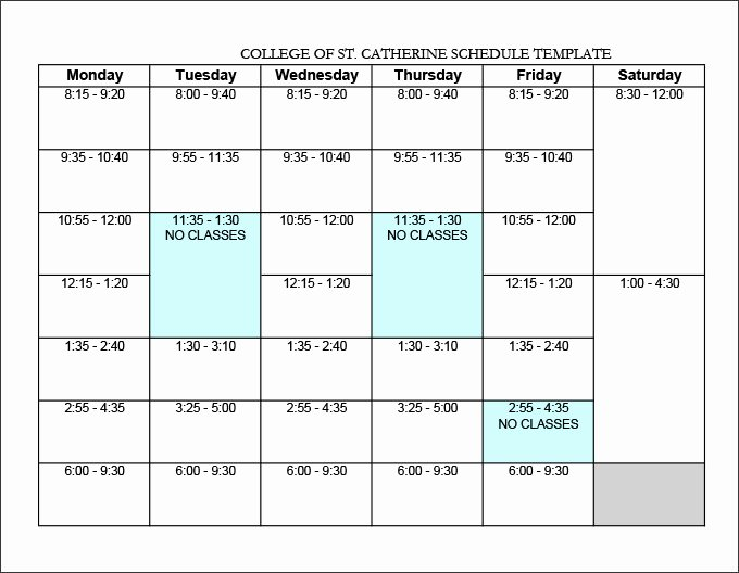 College Class Schedule Template Unique College Schedule Templates – 12 Free Word Excel Pdf