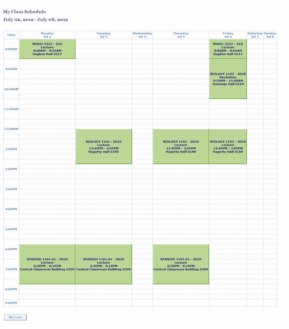 College Class Schedule Template Unique Weekly Class Schedule Maker