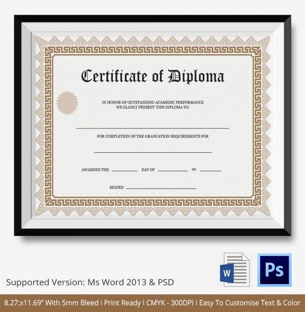 College Diploma Template Pdf Elegant Diploma Certificate Template 25 Free Word Pdf Psd